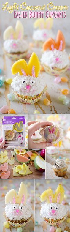 Light Coconut Cream Easter Bunny Cupcakes - A fun spring recipe with lightened up coconut cream cupcakes topped with bunny ears made from fruit, using Bakery Crafts Easter Bunny Cookie Cupcake Decoration Kit, for a holiday treat kids and adults will LOVE! #Easter #Cupcakes #Light #Fruit #ad