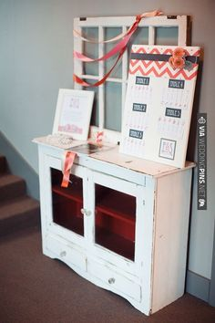 vintage hutch for escort card display   CHECK OUT MORE IDEAS AT WEDDINGPINS.NET   #weddings #escortcards #cards