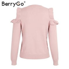 Berrygo Casual Cold Shoulder Knitted Sweater Women Elegant Selvedge Sweater Stri
