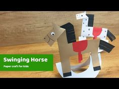 Swinging horse DIY for kids to do at home. Hey guys, this is Reni, check out this craft :) I am super happy about it, it took me 2 weeks to actually come up with easy concept to do at home :) ideal for crafting at home, or for preschool activities. Kids Origami, Paper Crafts Origami, Paper Crafts For Kids, Diy Arts And Crafts, Projects For Kids, Craft Kids, Farm Crafts, Camping Crafts, Craft Activities