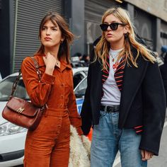 PB & J, coffee and cream, @camillecharriere and @jeannedamas. Shout out to Camille's @vetements_official coat from the designer's first ever collection, shop it now only on Style.com #NYFW @tommyton #styledotTon