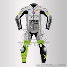 VR 46 Yamaha Fiat Motorcycle MotoGP 2009 Leather SuitVR 46 Yamaha Fiat Motorcycle MotoGP 2009 Leather Suit - Pre-curved sleeves for proper riding position, Dual stitched main seams for excellent tear resistance, Nylon Stitched, Leather Patches throughout the Body shell, This suit features excellent