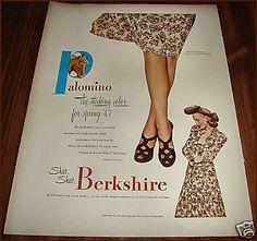1947 BERKSHIRE Palomino Seamed Nylon STOCKINGS Vintage Hosiery AD~ADVERTISING