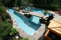 lazy river pool with a bridge
