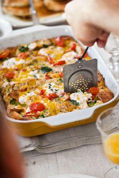 Tomato-Cheddar Strata with Broccoli  - CountryLiving.com