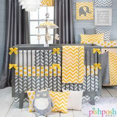 Swizzle by Glenna Jean. Soft gray and energetic yellow harmonize perfectly in this gorg unisex crib set for the modern nursery! Transitions beautifully to kids room. See the collection here: http://www.pishposhbaby.com/glenna-jean-swizzle-bedding-set.html