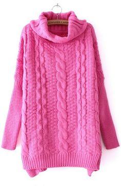 #SheInside Dark Pink High Neck Long Sleeve Split Sweater