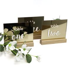 Mirror Gold Printed Table Number with Timber Base - Any Number - Table Numbers for Weddings, Cafe, Restaurant, Events Acrylic Table, Secret Santa Gifts, Gold Print, Wedding Table Numbers, Wishing Well, Personalized Wedding, Special Day, Wedding Decorations, Reception