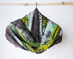 Handpainted cotton scarf unique one of a kind shawl by 88editions