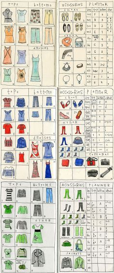 'I am seriously blown away by how meticulous this travel planners is. Every single item, down to her accessories, are accounted for in these adorable illustrations. And to the right, she carefully selects which outfit and accessories she will wear each day. This makes me smile so, so much.'