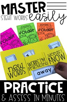 Dolch Sight Word Folder System for Practicing and Assessing Sight Words : Help your students master sight words with this printable and flashcards. My students LOVE them! I can assess in minutes and they have so much fun practicing. Learning Sight Words, Sight Word Practice, Sight Word Activities, Reading Activities, Sight Word Wall, Number Recognition Activities, Sight Word Flashcards, Reading Resources, Reading Skills
