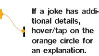 If a joke has additional details hover/tap on the orange circle that appears.