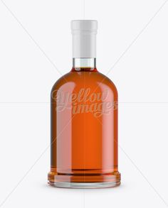 Clear Glass Bourbon Bottle Mockup