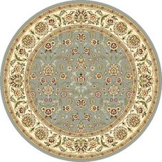 Lyndhurst Floral Motif Greyish Blue/ Ivory Rug (4' Round) | Overstock.com Shopping - Great Deals on Safavieh Round/Oval/Square