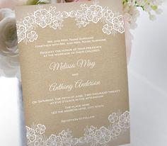 Rustic wedding invitation template. by YourWeddingTemplates