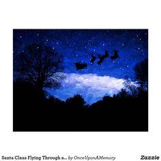 Santa Claus Flying Through a Christmas Twilight Postcard