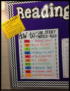 Reading to self sticky notes:  Students 'bookmark' various parts of their book to help them to think about what they are reading.