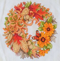 Autumn+Wreath+crossstitch+by+KatheStitches+on+Etsy