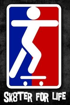 skate 4 life. Very cool logo. I like how the man and board are super simple! It draws the eye!