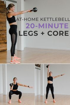 Kettlebell strength training and cardio combine in this 20-Minute LEGS AND CORE Kettlebell Workout! Leg Workout At Home, At Home Workouts, Body Workouts, Leg Workout Kettlebell, Exercise Cardio, Boxing Workout, Workout Plans, Workout Routines, Workout Fitness