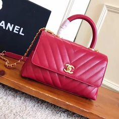 5990ac2d662d5d Chanel Shiny Chevron Calfskin Coco Handle Mini Bag Size: 23 cm Top quality original  calf leather Gold-tone hardware Tips: I would re.