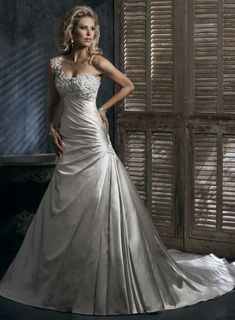 A-line One Shoulder Chapel Train Charming Satin with Ruffle wedding dress