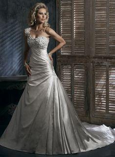 A-line One Shoulder Chapel Train Charming Satin with Ruffle wedding dress
