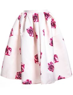 Apricot Rose Print Pleated Skirt 20.67