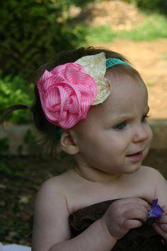 Flower Girls Headband First Birthday Bow Bright by birdsofafreckle, $20.00