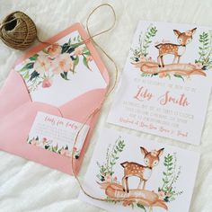 Bring in the baby girl in your life with this unique baby shower invitation with watercolor flowers and an adorable little deer. * Need your