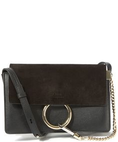 Chloe Small Black Faye Leather and Suede Shoulder Bag Bag Accessories, Chloe 3f3a9be2a6