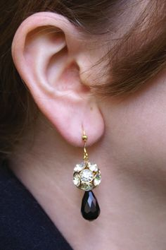 Crystal ball and black faceted teardrop earrings by SCBeads