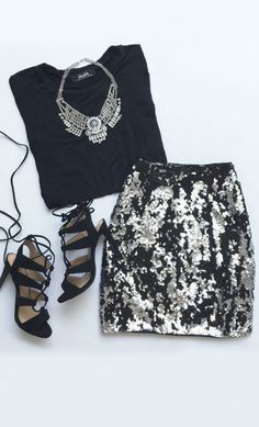 Sequin Siren Silver and Black Sequin Skirt Dressy Outfits, Skirt Outfits, Cute Outfits, Fall Outfits, Vegas Outfits, Hipster Outfits, Black Sequin Skirt, Black Sequins, Look Fashion