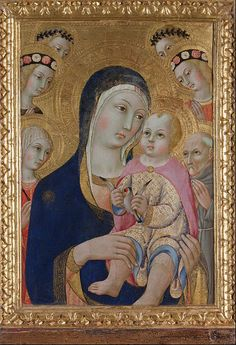 Sano di Pietro - Madonna with child, saints Apollonia and Bernardino and four angels, circa 1460