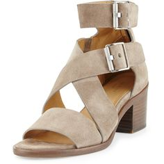 Rag & Bone Madrid City Suede Crisscross Sandal (610 CAD) ❤ liked on Polyvore featuring shoes, sandals, warm grey suede, rag bone shoes, mid-heel sandals, gray sandals, open toe sandals and grey shoes