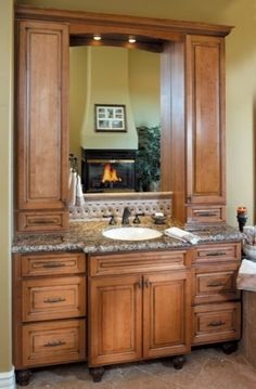 Bathroom Vanity With Linen Cabinet  Linen Cabinet  Pinterest Brilliant Bathroom Cabinets Company 2018
