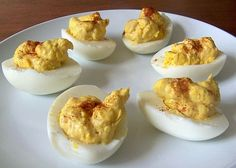 Nutritional analysis per serving: calories 84, carbohydrates 0.5 g, fiber 0 g, protein 5.6 g, fat 6.6 g, cholesterol 186 mg, sodium 120 mg, calcium 22 mg. Deviled Eggs RecipeBy Mark Hyman, MD Published: July 31, 2012Yield: 6 ServingsPrep: 5 minsCook: 15 minsReady In: 20 minsNutritional analysis per serving: calories 84, carbohydrates 0.5 g, fiber …