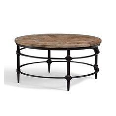Pottery Barn Parquet Reclaimed Wood Round Coffee Table (1,065 CAD) ❤ liked on Polyvore featuring home, furniture, tables, accent tables, circular coffee table, round occasional table, pottery barn coffee table, reclaimed wood table and mosaic accent table