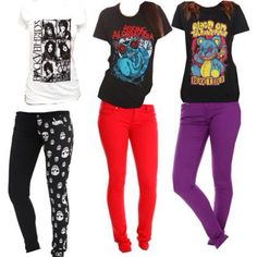 Band shirts and skinny jeans for a depressing Monday at school...