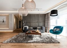 Arte Dizain - Apartament w Gdańsku - zobacz na myhome. Best Interior, Home Fashion, Shag Rug, Living Room Decor, Indoor, House Design, Ceiling Lights, Bedroom, Rugs