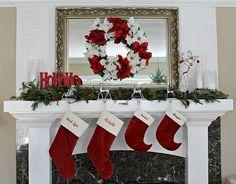 Cute holiday mantle idea.