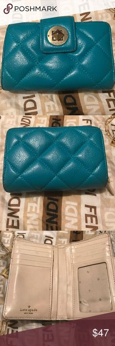 Kate Spade quilted wallet EUC It's in great shape, just shows some minor wear on the interior and minor scuffing on the exterior edges. Very cute everyday wallet! kate spade Bags Wallets