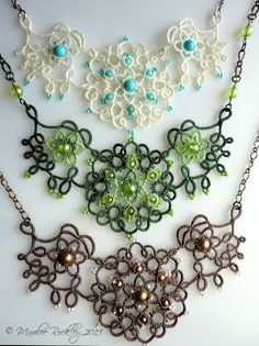 Nouveau Set original tatting pattern is all done! It& for sale at my Etsy Shop and also in my Craftsy Pattern Store. The curving, . Tatting Necklace, Tatting Jewelry, Tatting Lace, Shuttle Tatting Patterns, Needle Tatting Patterns, Jewelry Model, Jewelry Sets, Jewelry Making, Jewelry Crafts