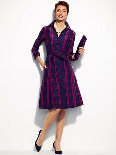 Talbots Gala plaid taffeta dress