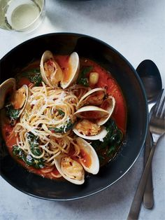 Spaghetti with Clams and Braised Greens Recipe | http://aol.it/1AuperQ