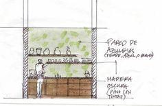 Process: sketch of sink-side kitchen elevation. Kitchen Elevation, Condo, Sink, Sketch, Oaxaca, Sink Tops, Sketch Drawing, Vessel Sink, Vanity Basin
