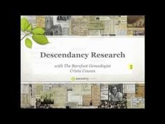 Descendancy Research - There are a lot of different ways to do family history research. Many of you are familiar with ancestry or pedigree based research where you identify the parents and the grandparents and the great-grandparents and so on back through time. But, you could also do descendancy research - identifying the children and grandchildren and great-grandchildren of your ancestors. Join Crista Cowan for some of her best tips about this fun and fascinating kind of research.
