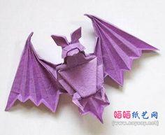 Origami bat by Noboru Miyajima Origami Mouse, Origami Yoda, Origami And Quilling, Origami And Kirigami, Money Origami, Origami Dragon, Origami Fish, Paper Crafts Origami, Origami Stars