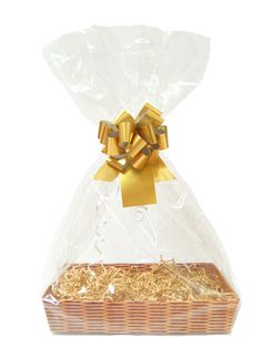 This Gift Kit has everything needed to make a gift hamper. Included is a: Gift Hamper Tray made from sturdy 1500g cardboard with a printed wicker design measuring 35cm x 24cm x 6cm high 75g of Manila Crinkled Paper ShredClear Cellophane BagMatt Metallic Gold Pull BowGold Gift Tag with string Perfect for gifts and occasions all year round.