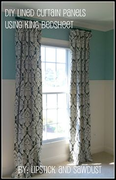 DIY lined curtain panels using king bedsheet